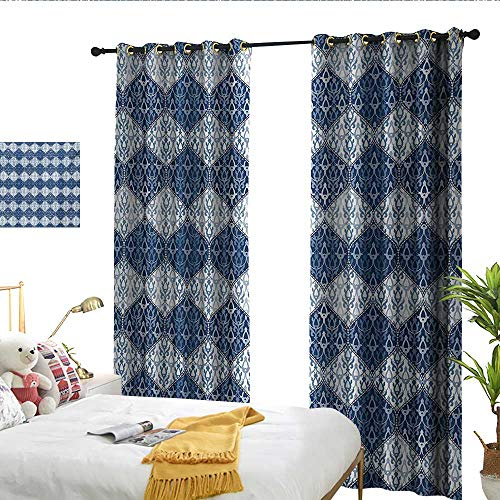 WinfreyDecor Navy Blue Thermal Insulated Drapes for Kitchen/Bedroom Oriental Pattern in Patchwork Horizontal Design Eastern Asian Set of Two Panels W72 x L96