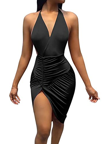 DRESHOW Vestitino Club Halter sexy Backless Bodycon fessura del lato pieghe delle donne