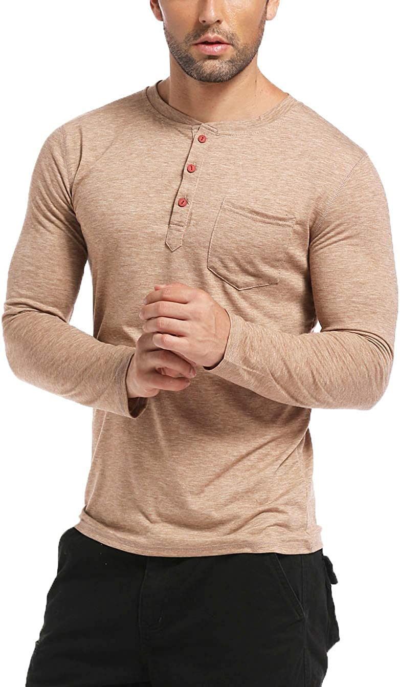 BABEIYXM Mens Henley Shirts Buttons Short Sleeve Casual Tops with Pocket Slim Fit T-Shirts
