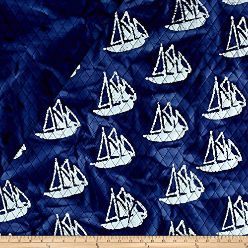 Indian Batik Double Face Quilted Boats White Fabric By The Yard