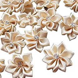 Beige 40pcs 28mm(1 1/8) Ribbon Flowers Bows Rhinestone Wedding Ornament Appliques