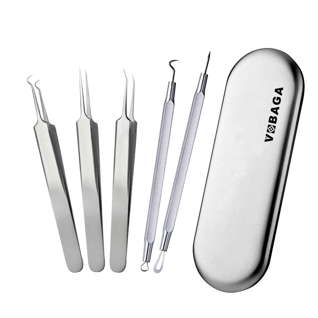 VOBAGA Blackhead Remover Pimple Comedone Extractor Tool Curved Acne Removal Kit,Treatment for Blemish,Whitehead Popping,Fat Particles,Zit popper with Silver Metal Case Tweezers Kit 5pcs