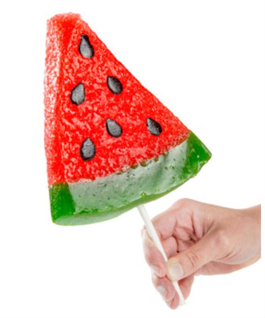 Gummy Watermelon Slice watermelon-flavored gummy on a stick