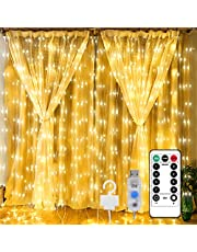 Sujeet Curtain Lights, Fairy Lights Curtain, 300 LED Warm White Curtain String Lights 8 lighting modes, Twinkle Lights Curtain String Lights with Remote Hanging Lights for Bedroom Parties Wedding Outdoor Indoor Christmas (9.9 x 9.9 Ft)