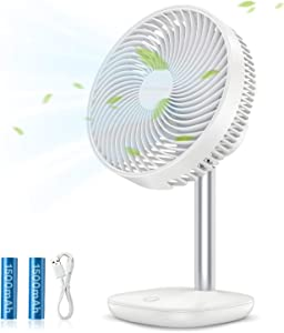 SmartDevil Small Desk Fan, Rechargeable Battery Operated Fan with 4 Speed Levels, Portable Personal Desktop Table Fan, Quiet Operation, Adjustable Tilt, for Home Office Bedroom or Outdoor Use (White)