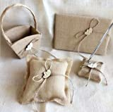 Dollbling Rustic Vintage Retro Wood Love Heart Burlap Wedding Flower Girl Basket + Ring Pillow +Guest Book + Pen Holder Set