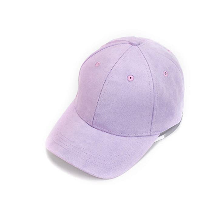 c4e79ced7c1 Lioncein Adjustable Unisex Artificial Suede Baseball Cap Curved Brim Solid  Color for Women Man 1