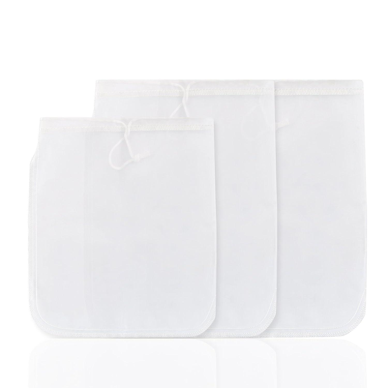 GWHOLE 3 Sizes Nut Milk Bag, Strong Nylon Mesh Filter for Almond, Coconut, Greek Yogurt, Soy Milk, Fruit & Veg Cheesecloth