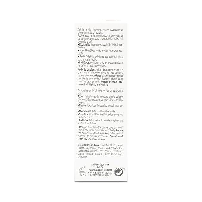 ISDIN - Acniben On the Spot Gel Secante Corrector de granos faciales - 15ml: Amazon.es: Belleza