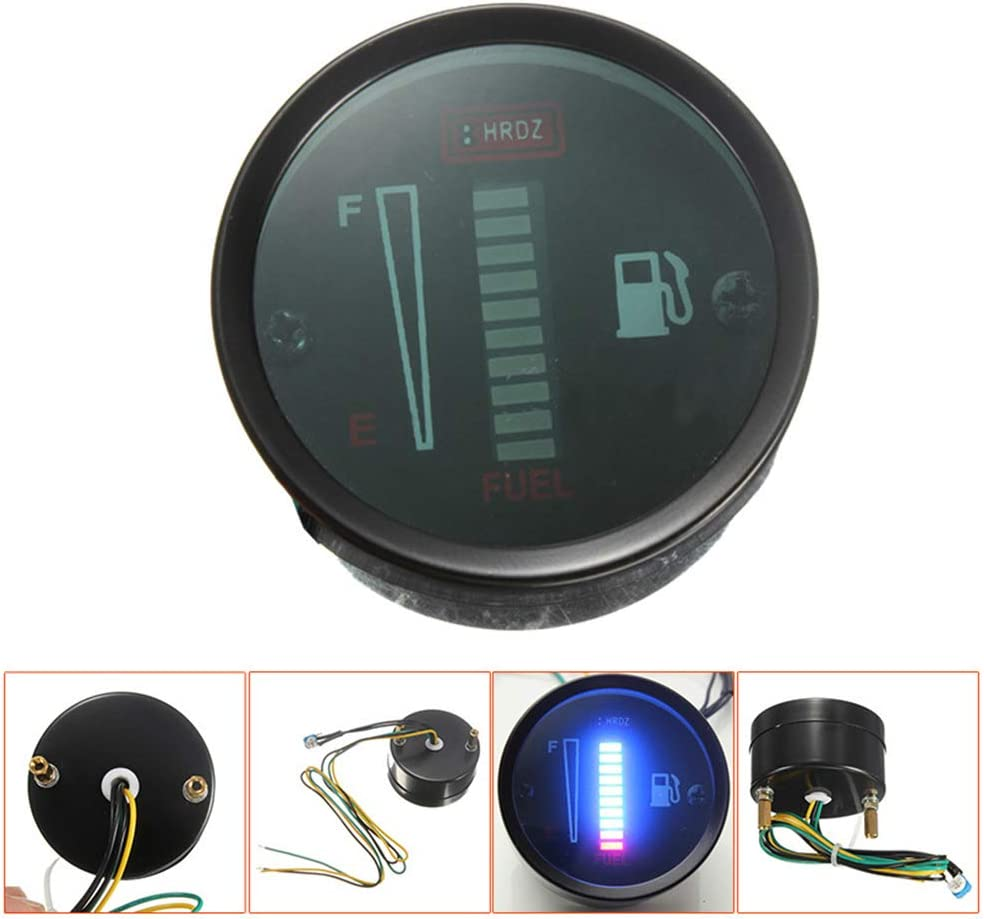 12VLED Fuel Gauge,8 Blue//Green LED display Fuel Meter Lightweight Tank Clock Accessories Clear Replacement Indicator
