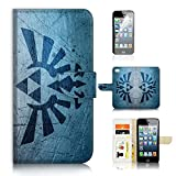 ( For iPhone 8 / iphone 7 ) Flip Wallet Case Cover & Screen Protector Bundle - A21402 Legend of Zelda Sign
