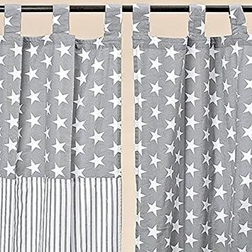 Tamia Home Vorhang Schlaufenschal Gardine Stern Streifen Baumwolle
