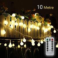 Cadena de Luces Guirnalda de Luces 10M 80LED Impermeable con Controlador Remoto 8 Modos de Luz Blanca Cálida para…