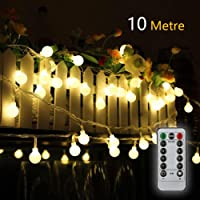 Battery Fairy Lights 33FT/10M 80LED Waterproof Indoor Outdoor Fairy Lights Battery Operated Globe String Lights for Party/Garden/Christmas/Patio/Wedding Decor - 8 Modes Remote Controller