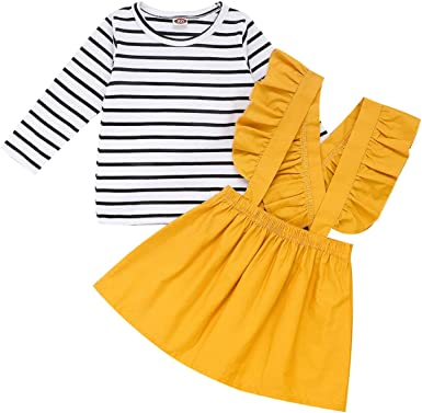 Toddler Kids Baby Girl Striped Tops Suspender Skirt Headbands Outfits Clothes US
