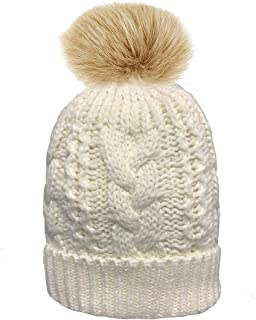 DINZIO® Ladies Chunky Soft Cable Knit hat with Cosy Fleece Liner and Detachable Faux Fur Pompom