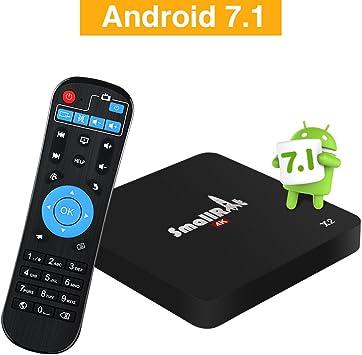 Android TV Box 7.1, smallrt X2 4 K HD Smart TV Box Apoyo Wifi Quad Core reproductor multimedia para entretenimiento en casa: Amazon.es: Electrónica