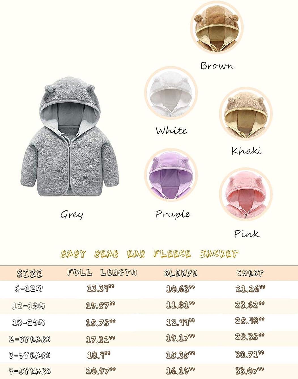 Voopptaw Little Kids Bear Ears Hooded Zipper Coral Fleece Jacket Outerwear