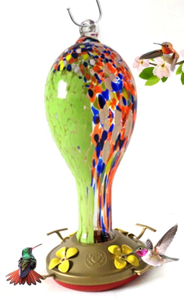 Grateful Gnome Hummingbird Feeder - Hand Blown Glass - Wildflower Tower - 30 Fluid Ounces