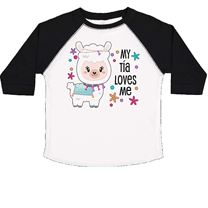 inktastic My T/ía Loves Me Cute and Happy Llama Baby T-Shirt