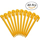 Erlvery DaMain 40Pcs Multifunctional Sturdy Yellow Plastic Stakes Anchors Rust-proof for Holding Down Landscape Fabric Lawn Edging,Tents,Children's tent,Game Nets,Rain Tarps,Camping, Plants