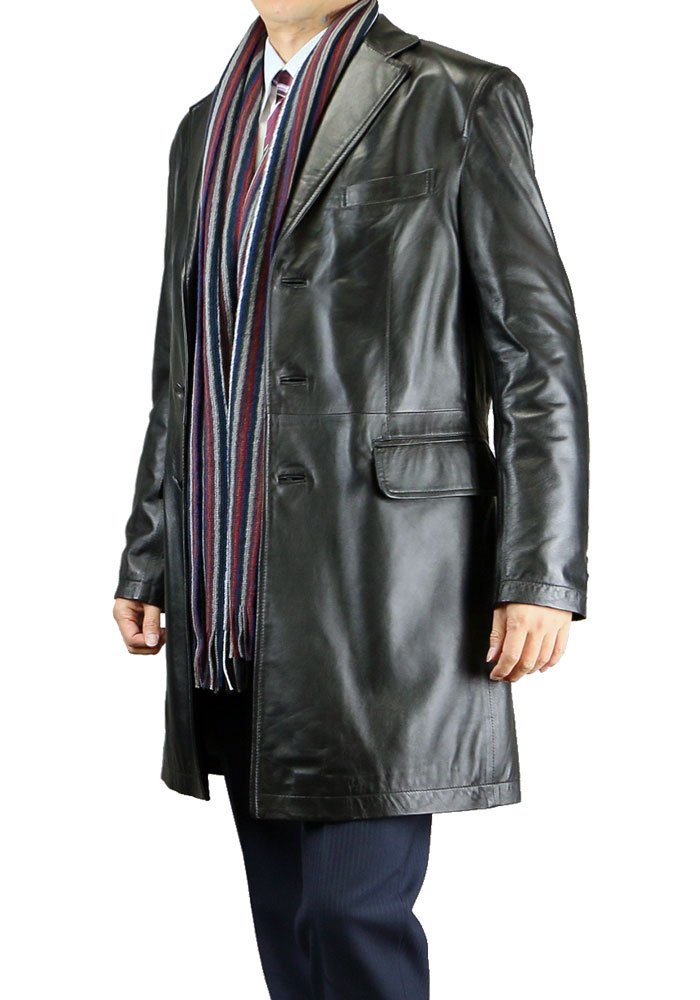 メンズ レザーコート チェスターコート 黒ブラック 本革 コート ラムレザー 515052 B01821TGPS L|【1】ブラック 【1】ブラック L