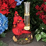 Bits and Pieces - Cardinal Statue Solar Rain Gauge - Hand Painted Cardinal Rain Gauge Sculpture for Your Garden, Lawn or Patio - Charming, Durable, Weather Resistant Polyresin Statue