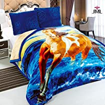 JML Heavy Soft Plush 3PCs Velvet Silky Touch Borrego Blanket, Korean Style Mink Animal Printed 3 Ply Sherpa Blanket, King Size 85 x 93