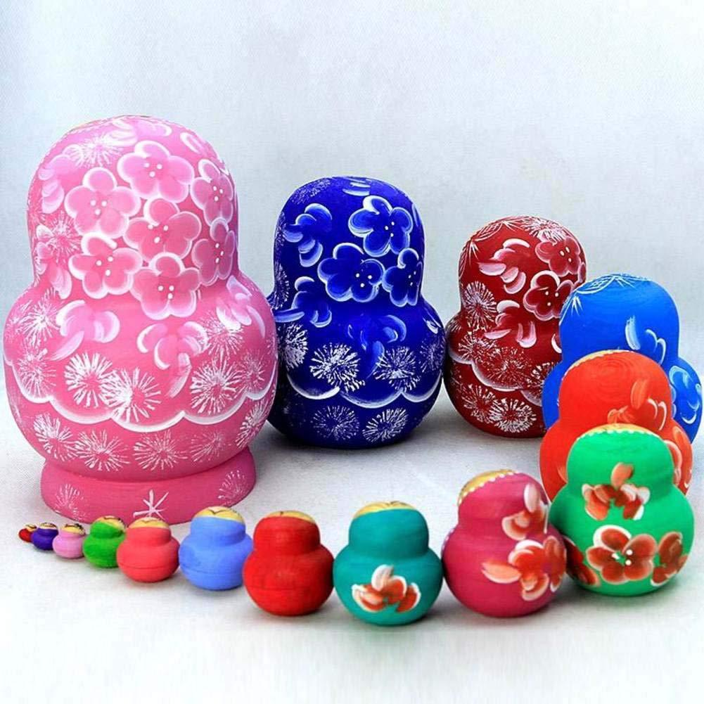 Nesting Dolls 15 Piece Matryoshka Nesting Dolls,Children's Wooden Stacked Nesting Handmade Toys Kids Best Gift by DADAO (Image #4)