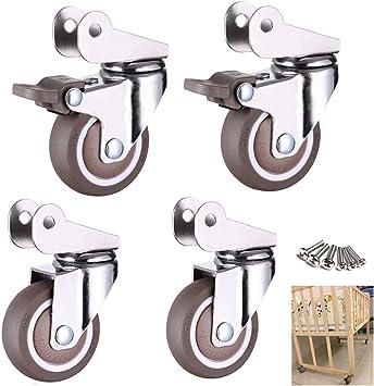 ZJDU Trolley for Furniture 2  Swivel castors 360 Degree rotatable Brass castors Rolling Castor Wheels Furniture Fittings
