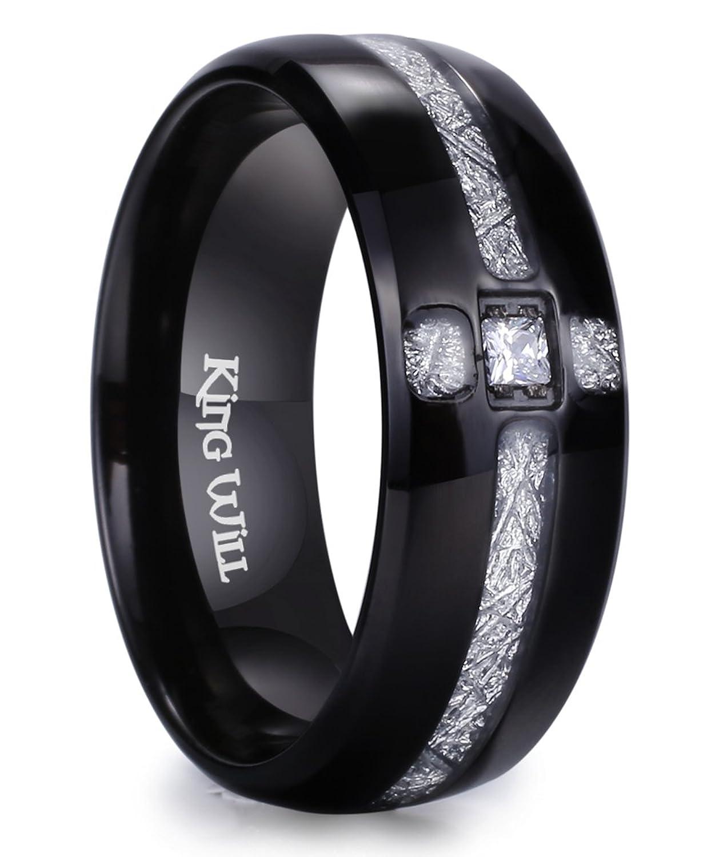 King Will METEOR 8mm Black Titanium Ring Cubic Zirconia and Meteorites Inlay Design Wedding Band