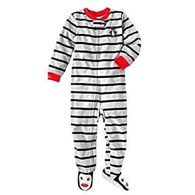 Carters L/S Striped Footed Blanket Sleeper - Penguin- 3T