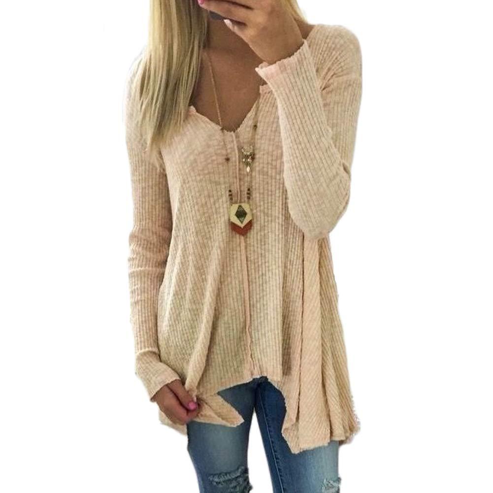 5e75ad9da9fb LAIKETE T Shirt Manches Longues Femme Elegant Pull Tricot é Chaud Sweater  Retro Pullover  à Col V Tunique ...
