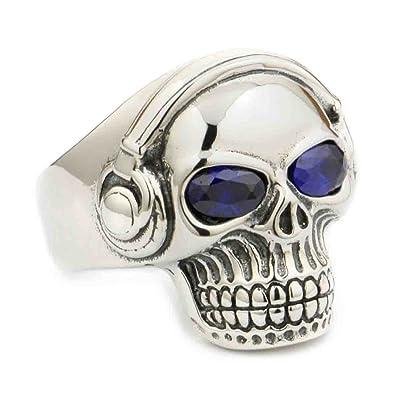 9f5fef35e830 LINSION Rock Skull Purple Eyes Ring 925 Sterling Silver Biker Hiphop Punk  Jewerly 8Y411  Amazon.co.uk  Jewellery