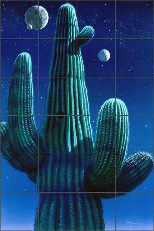 Ceramic Tile Mural Backsplash - Cactus Art - Desert Dreams