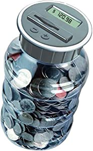 Digital Coin Bank Savings Jar by Digital Energy - Pennies Nickles Dimes Quarter Half Dollar Change Counter | Clear Jar with LCD Display