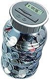 Digital Coin Bank Savings Jar by Digital Energy - Pennies Nickles Dimes Quarter Half Dollar Change Counter   Clear Jar with LCD Display