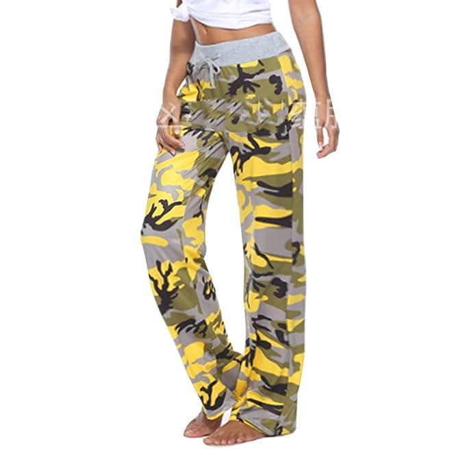 Yying Mujeres Pantalones Camuflaje Sueltos Y Cómodos Pierna Ancha Pantalones  Señora Manera Casuales Deportivos Jogging Amarillo ebec47e8472b