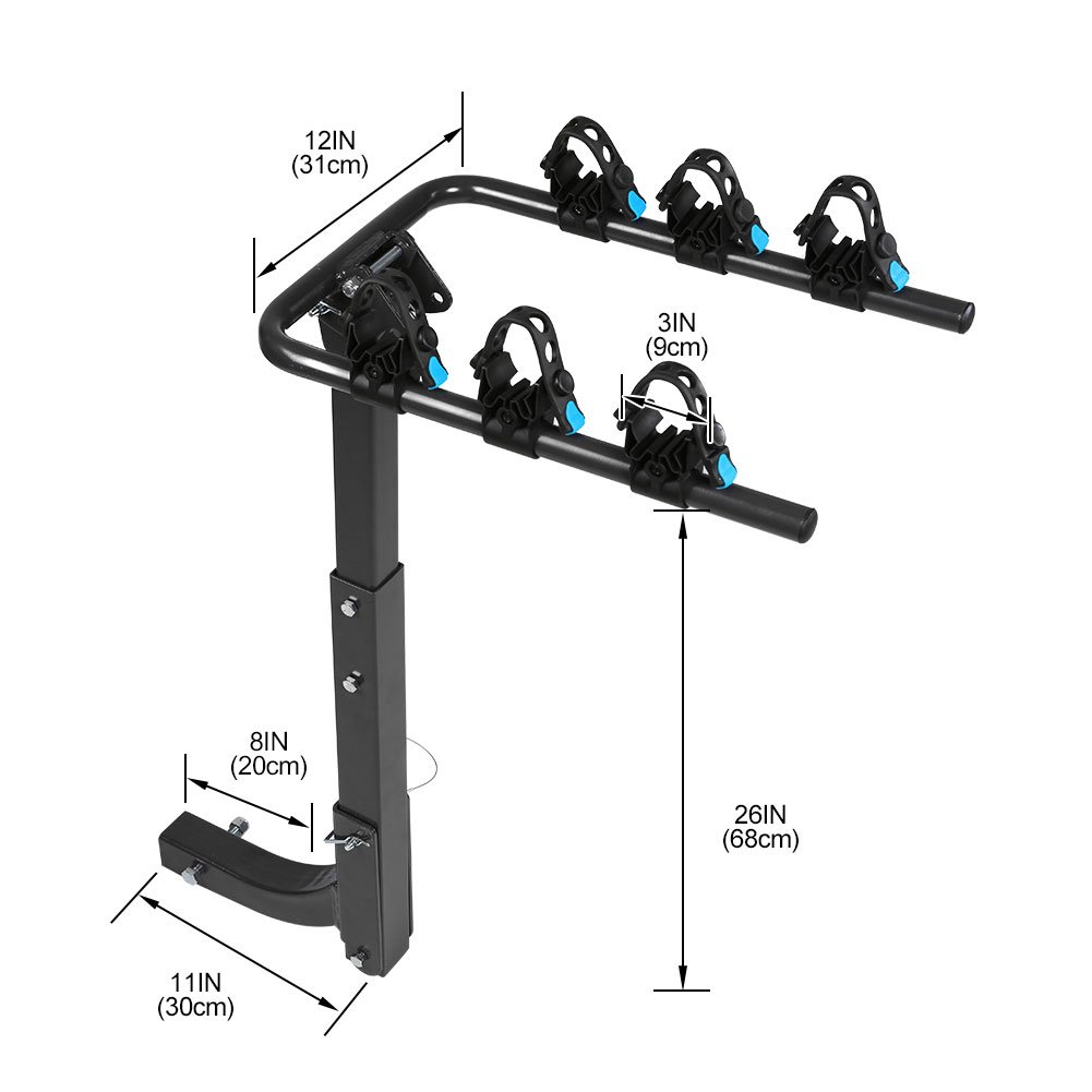 IKURAM 3-Bike Hitch Mount Bicycle Rack Foldable Fit 2 Inch Hitch Receiver by IKURAM (Image #2)