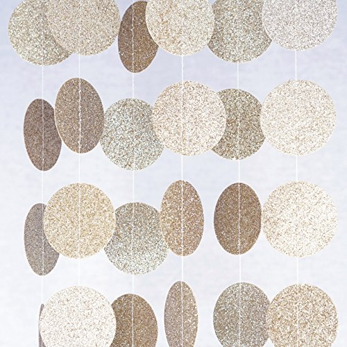 Chloe Elizabeth Circle Dots Paper Party Garland Streamer Backdrop (10 Feet Long) - Champagne Gold Glitter