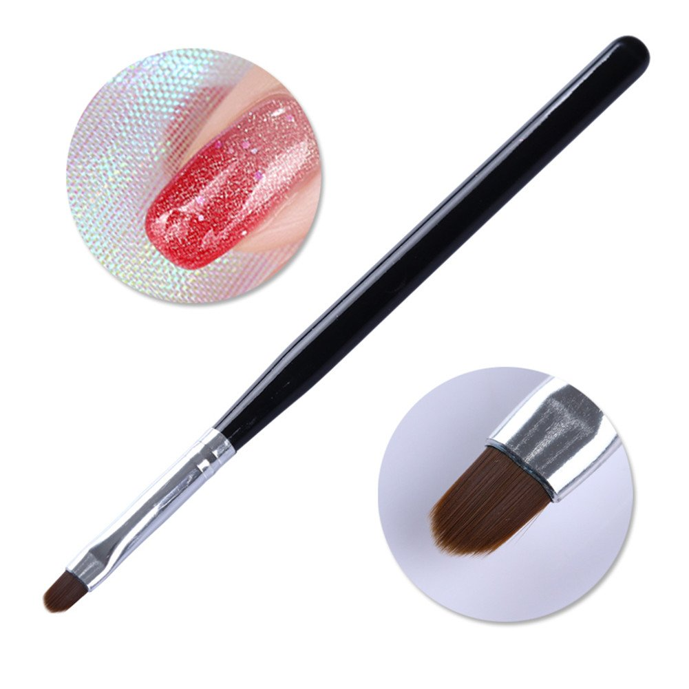 BORN PRETTY 1Pc Nail Art Oval Acrylic Painting Pen UV Gel Drawing Brush Black Handle Manicure Tool with Cap