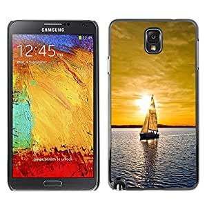 All Phone Most Case / Hard PC Metal piece Shell Slim Cover Protective Case Carcasa Funda Caso de protección para Samsung Note 3 N9000 N9002 N9005 Sunset Sailing Boat Sea
