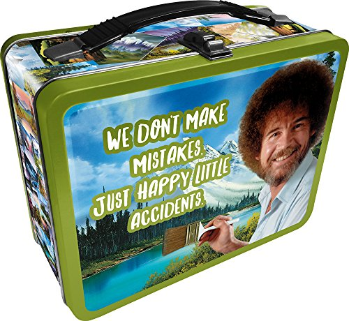 Boxes Lunch 80s (Aquarius Bob Ross Happy Accidents Large Gen 2 Tin Storage Fun Box)