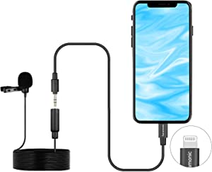 Lavalier Lightning Microphone, Saramonic LavMicro U1B Universal Lapel Mic with Lightning Plug Adapter Compatible with iPhone 11 10 X 8 7 MAC iPad YouTube Video Facebook Live (20ft)