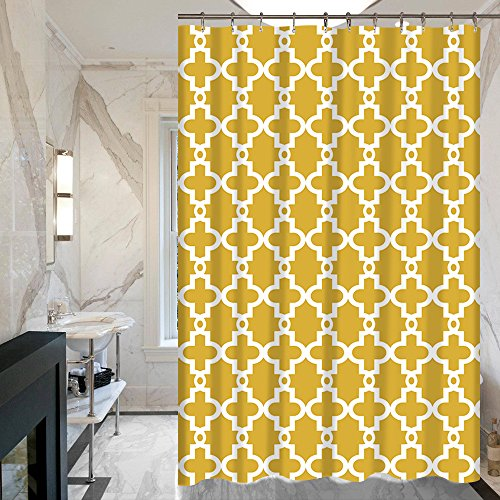 ALDECOR Geometric Aria Trellis Chic Fabric Shower Curtains - Assorted Colors (Yellow)
