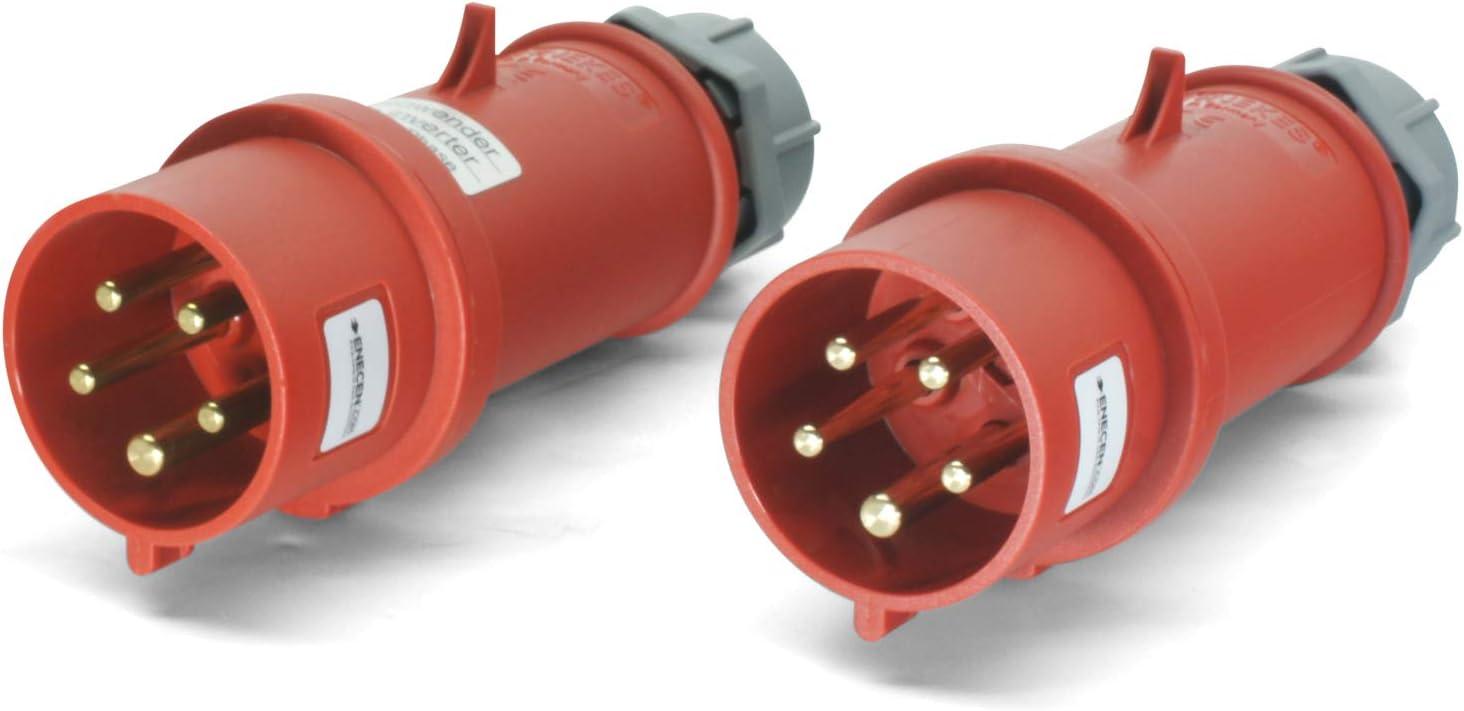 CEE Stecker Set 400V//32A 5p IP44 Standard /& mit Phasenwender Mennekes