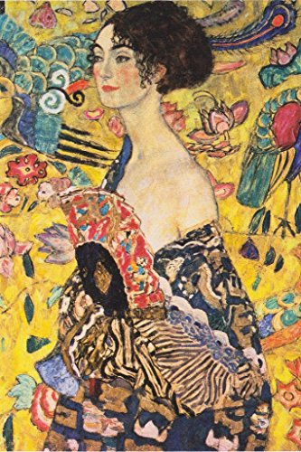 Gustav Klimt Lady with Fan Asian Influenced Austrian Symbolist Painter Mural Giant Poster 36x54 inch