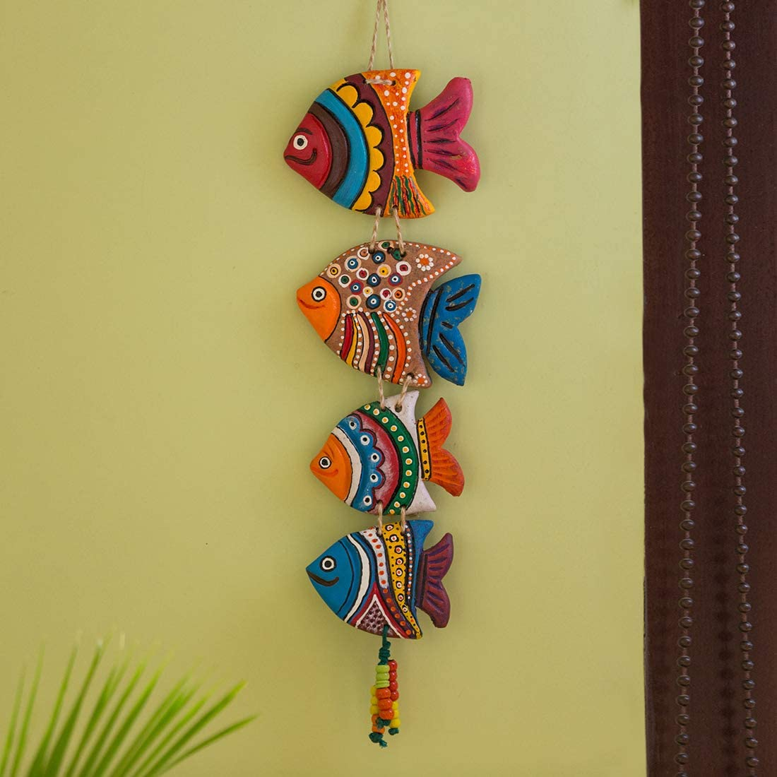 ExclusiveLane Fish Handmade and Hand-Painted Garden Decorative Wall Hanging in Terracotta - Balcony Decoration Hanging Decorative Items for Living Room Wall Décor Terracotta Decorative for Home
