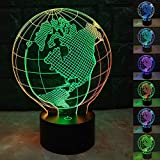 SZLTZK Christmas Gift Dual Color 3D LED Globe Night Light 7 Color Touch Switch with Battery Compartment USB Cable Table Desk Baby Nursery Lamp Home Decor Birthday Present for Kids Boy Girl