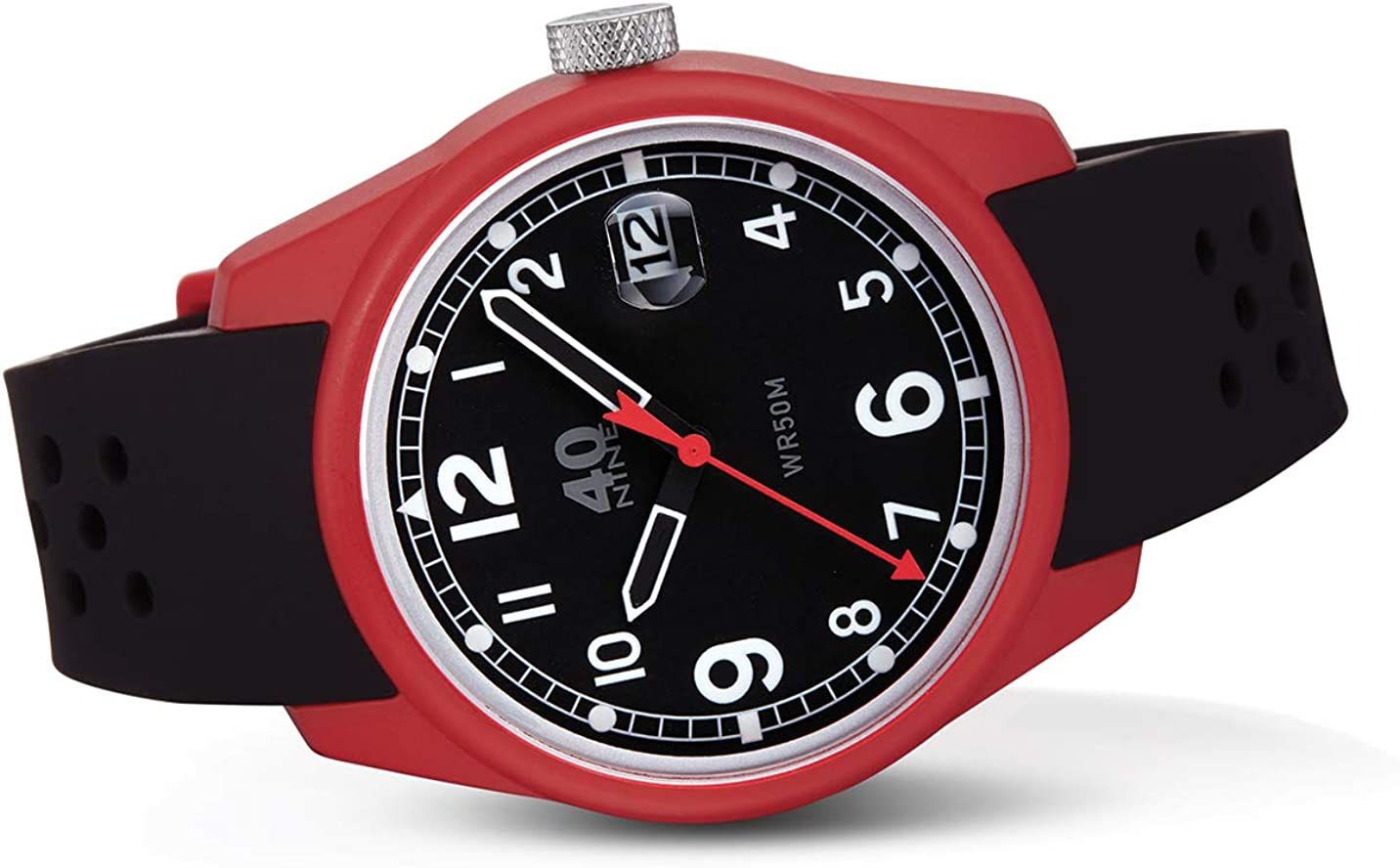 40N7.0BK Mens 43MM Spartan Watch, Black Face, Black Strap